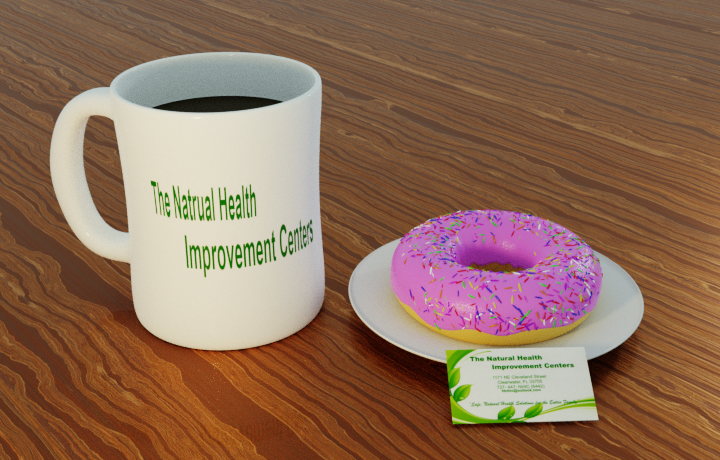 Donut and Coffee with The Natural Health Improvement Centers Business card.